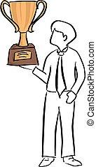 trophée, croquis, homme affaires, tenue, or, grand, lignes, isolé, illustration, main, vecteur, arrière-plan noir, griffonnage, dessiné, blanc