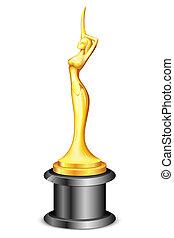 trophée, dame, statue