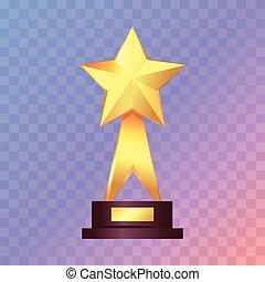 trophée, debout, étoile, or, étagère, blanc, mieux