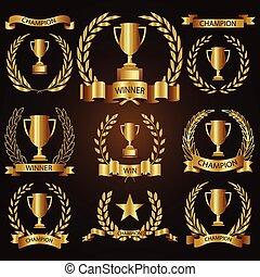 trophée, doré, étiquettes, collection, récompenses, insignes