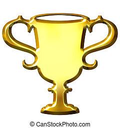 trophée, doré, 3d