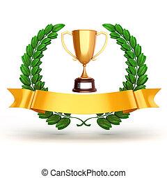 trophée, Doré,  3D, laurier