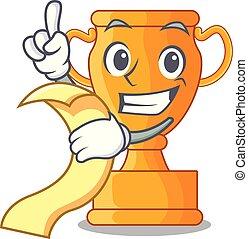trophée, doré, champion, menu, table, dessin animé