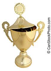 trophée, doré, coupure, couvercle, -, inclut, sentier, ouvert