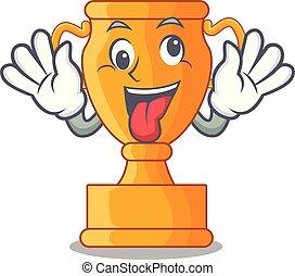 trophée, doré, fou, tasse, isolé, mascotte