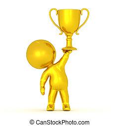 trophée, doré, or, caractère, endroit, tenue, 3d, premier