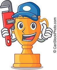 trophée, doré, plombier, tasse, isolé, mascotte