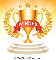 trophée, doré, podium, tasse