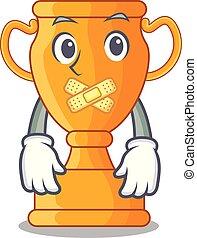 trophée, doré, silencieux, tasse, isolé, mascotte