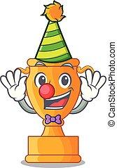 trophée, doré, tasse, isolé, clown, mascotte