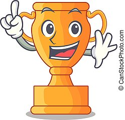 trophée, doré, tasse, isolé, doigt, mascotte