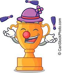 trophée, doré, tasse, isolé, jonglerie, mascotte