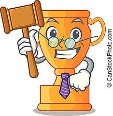 trophée, doré, tasse, isolé, juge, mascotte