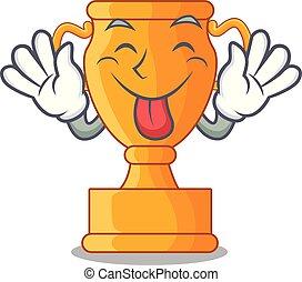 trophée, doré, tasse, isolé, langue dehors, mascotte
