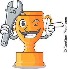 trophée, doré, tasse, isolé, mécanicien, mascotte