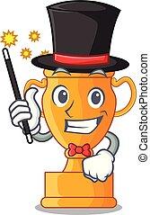 trophée, doré, tasse, isolé, magicien, mascotte