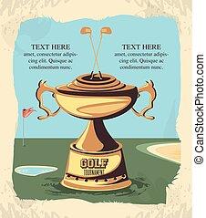 trophée, doré, tournoi, golf