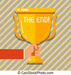 trophée, doré, vie, championnat, photo, tasse, réflexion., texte, projection, temps, signe, vainqueurs, quelque chose, tenue, vide, conceptuel, fin, conclusion, main, end.