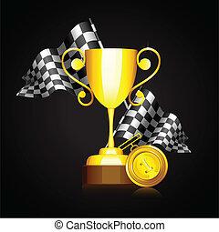 trophée, drapeau, course, or