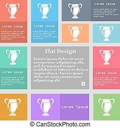 trophée, ensemble, espace, signe., text., multicolore, boutons, vecteur, icône