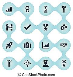 trophée, ensemble, heureux, simple, argent, diagramme, illustration, affaire, synonyms, vecteur, croissance, icons., creativity., valise, idée, autre, éléments