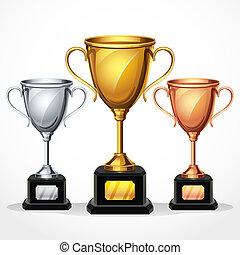 trophée, ensemble, tasses