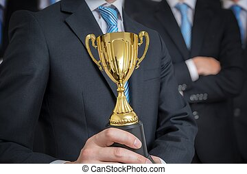 trophée, excelent, réussi, accordé, skil, homme affaires, ...