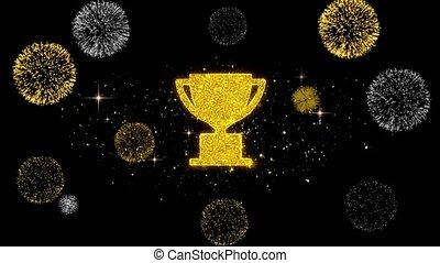 trophée, firework., icône, tasse, gagner, doré, scintillement, particules