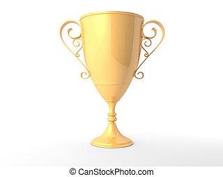 trophée, fond blanc, isolé, or