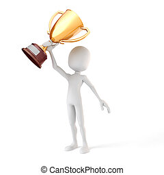 trophée, fond, tasse or, tenue, blanc, homme, 3d