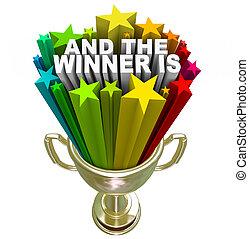 trophée, gagnant, récompense, or