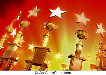 trophée, gagnant, récompense