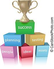 trophée, gagner, modèle, business, reussite