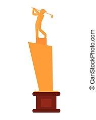 trophée, golf, icône
