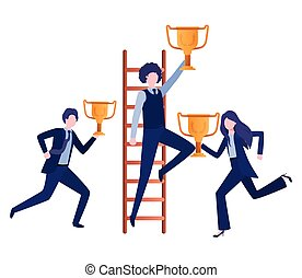 trophée, groupe, business, escalier, caractère, avatar