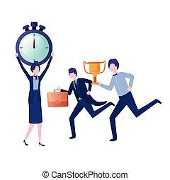 trophée, groupe, business, horloge, caractère, avatar