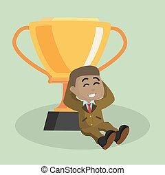 trophée, homme affaires, délassant, africaine