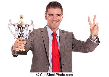 trophée, homme, victoire, affaires signent