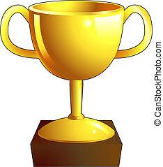 trophée, icône, or, illustration