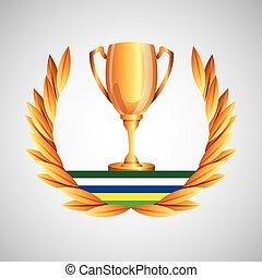 trophée, jeux, olympique, emblème