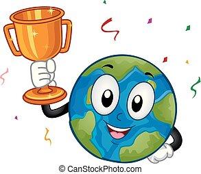 trophée, la terre, illustration, mascotte
