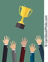 trophée, lancement, air, mains, tasse
