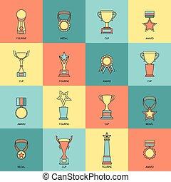 trophée, ligne fixe, ensemble, icônes