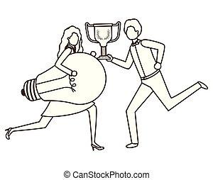 trophée, lumière, couple, business, ampoule