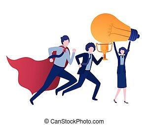 trophée, lumière, groupe, business, ampoule