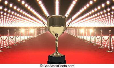 trophée, lumières rouges, clignotant, moquette