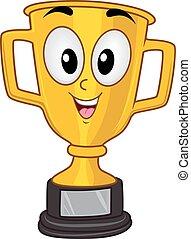 trophée, mascotte, championnat, tasse or