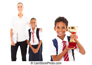 trophée, mignon, tenue, écolier