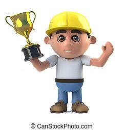 trophée, or, gagne, ouvrier, récompense, construction, 3d