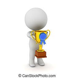 trophée, petit, caractère, tenue, 3d
